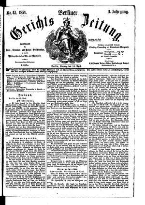 Berliner Gerichts-Zeitung on Apr 16, 1854