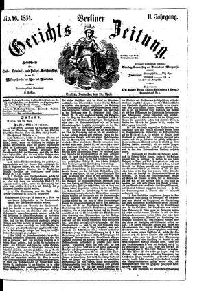 Berliner Gerichts-Zeitung vom 20.04.1854