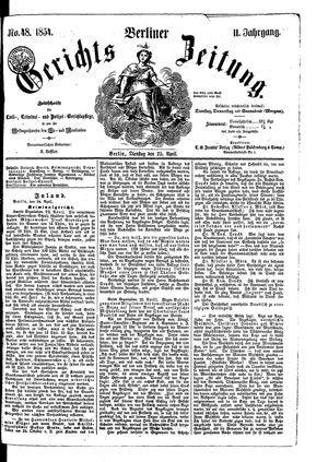 Berliner Gerichts-Zeitung on Apr 25, 1854