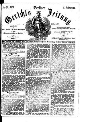 Berliner Gerichts-Zeitung vom 09.05.1854