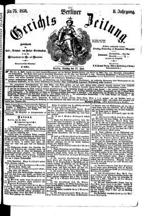 Berliner Gerichts-Zeitung vom 27.06.1854