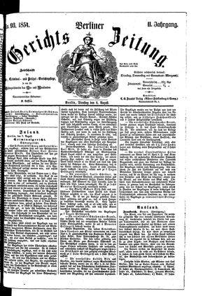 Berliner Gerichts-Zeitung vom 08.08.1854