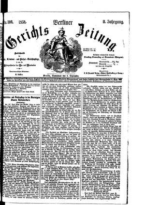 Berliner Gerichts-Zeitung on Sep 2, 1854