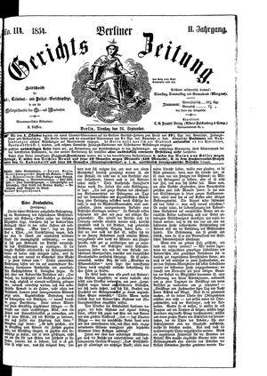Berliner Gerichts-Zeitung vom 26.09.1854