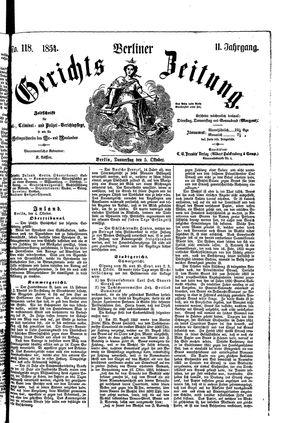 Berliner Gerichts-Zeitung vom 05.10.1854