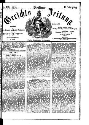 Berliner Gerichts-Zeitung vom 25.11.1854