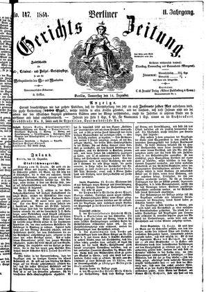 Berliner Gerichts-Zeitung vom 14.12.1854