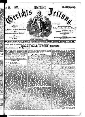 Berliner Gerichts-Zeitung vom 01.03.1855