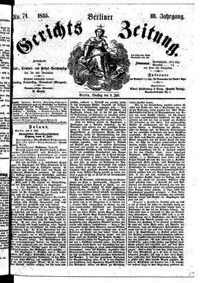 Berliner Gerichts-Zeitung vom 03.07.1855