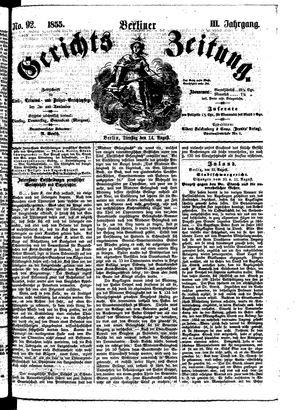 Berliner Gerichts-Zeitung vom 14.08.1855