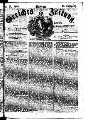 Berliner Gerichts-Zeitung on Aug 18, 1855