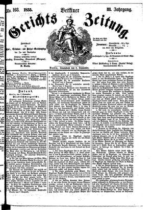 Berliner Gerichts-Zeitung vom 08.09.1855