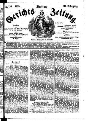 Berliner Gerichts-Zeitung vom 25.09.1855
