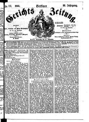 Berliner Gerichts-Zeitung vom 27.09.1855
