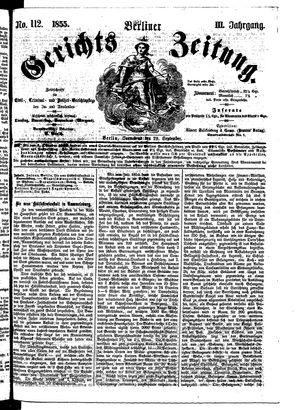 Berliner Gerichts-Zeitung vom 29.09.1855