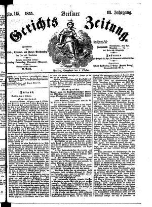 Berliner Gerichts-Zeitung vom 06.10.1855