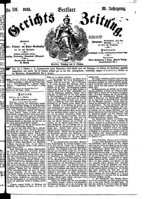 Berliner Gerichts-Zeitung vom 08.10.1855