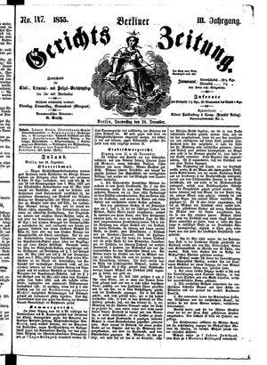 Berliner Gerichts-Zeitung vom 20.12.1855