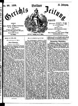 Berliner Gerichts-Zeitung vom 09.03.1858
