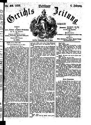 Berliner Gerichts-Zeitung vom 15.04.1858