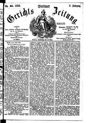 Berliner Gerichts-Zeitung on Apr 22, 1858