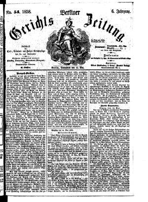 Berliner Gerichts-Zeitung vom 15.05.1858