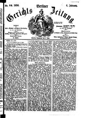 Berliner Gerichts-Zeitung vom 03.07.1858