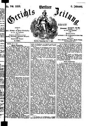 Berliner Gerichts-Zeitung vom 08.07.1858
