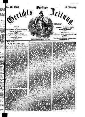 Berliner Gerichts-Zeitung vom 10.07.1858