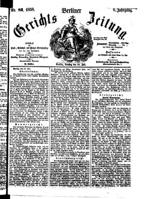 Berliner Gerichts-Zeitung vom 20.07.1858