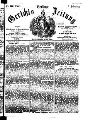 Berliner Gerichts-Zeitung vom 14.08.1858