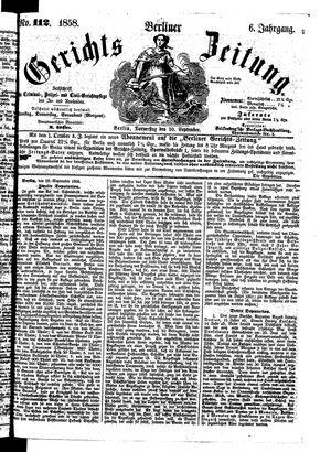 Berliner Gerichts-Zeitung vom 30.09.1858