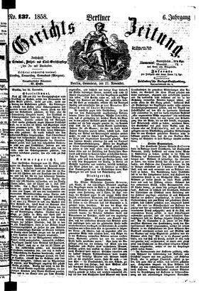 Berliner Gerichts-Zeitung vom 27.11.1858