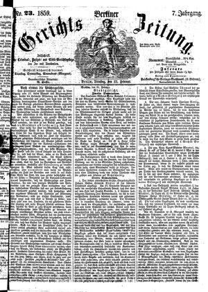 Berliner Gerichts-Zeitung vom 22.02.1859