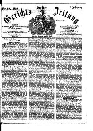 Berliner Gerichts-Zeitung vom 19.04.1859