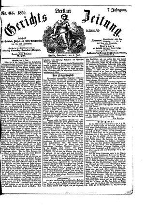 Berliner Gerichts-Zeitung vom 04.06.1859