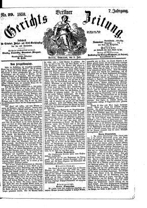 Berliner Gerichts-Zeitung vom 09.07.1859