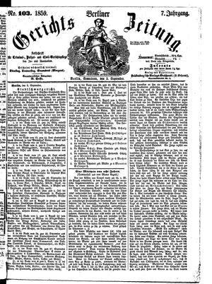 Berliner Gerichts-Zeitung vom 03.09.1859