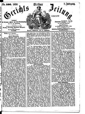 Berliner Gerichts-Zeitung vom 10.09.1859