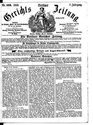 Berliner Gerichts-Zeitung vom 27.09.1859