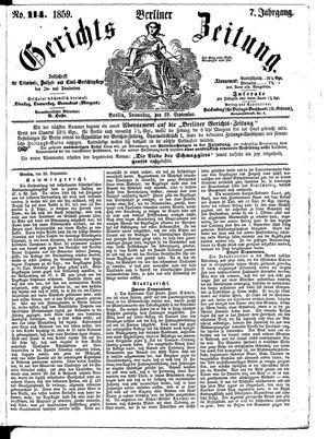 Berliner Gerichts-Zeitung vom 29.09.1859