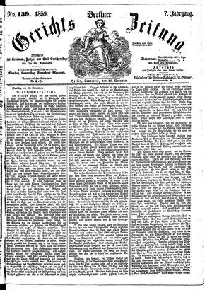 Berliner Gerichts-Zeitung vom 26.11.1859