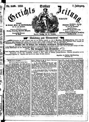 Berliner Gerichts-Zeitung vom 20.12.1859