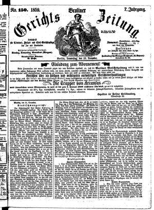 Berliner Gerichts-Zeitung vom 22.12.1859