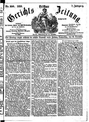 Berliner Gerichts-Zeitung vom 24.12.1859