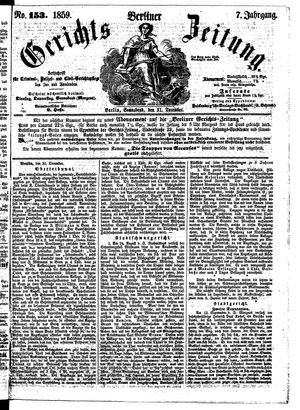 Berliner Gerichts-Zeitung vom 31.12.1859