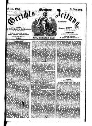 Berliner Gerichts-Zeitung vom 01.10.1861