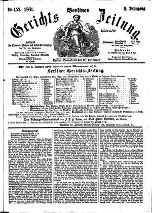 Berliner Gerichts-Zeitung vom 28.12.1861