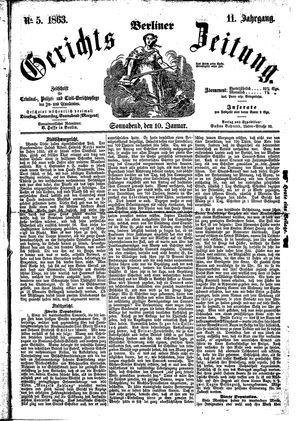 Berliner Gerichts-Zeitung vom 10.01.1863