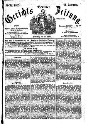 Berliner Gerichts-Zeitung vom 31.03.1863